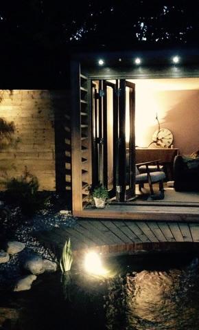 Garden room at night